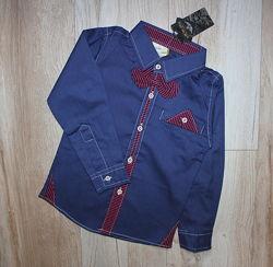 92 и 110 нарядная стильная рубашка сорочка синяя с бабочкой