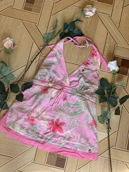 Esprit открытые плечи спина майка, L, цветы, яркая, хлопок
