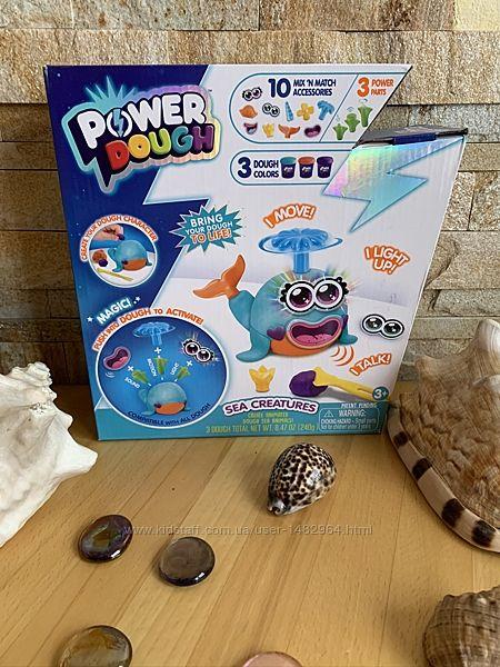 Игровой набор пластилин Кит с эффектами свет звук Power Dough Sea Creatures