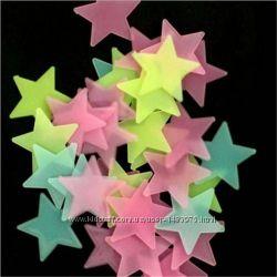 Звезды фосфорные светящиеся в темноте флуоресцентные салатовые 3D на стену