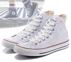 Кеды конверс Высокие Converse all star Белые с высокой шнуровкой Унисекс