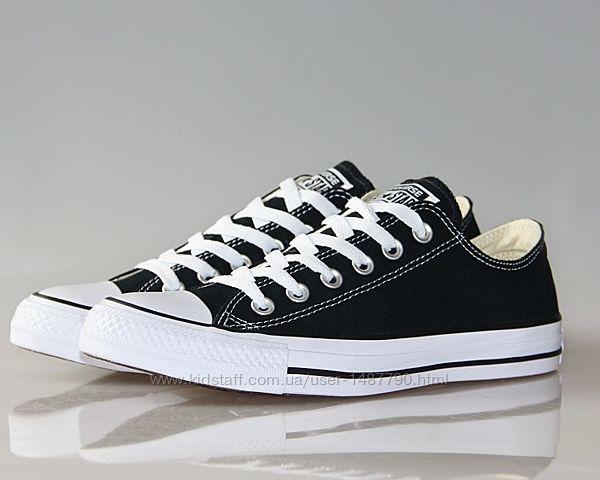 Кеды Конверс низкие Converse All Star Классичиские Черные с белой подошвой