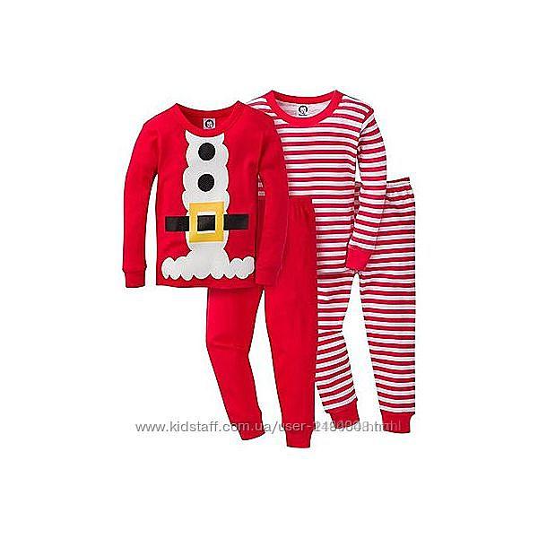 Комплект новый год  хлопковых пижам gerber на 3-4 года