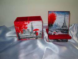 Набор Лондон-Париж карандашница органайзер и подставка под теле