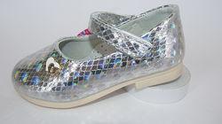 Нарядные туфельки для девочки на праздники, утренники в садик серебро 22-