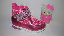 Новые с мигалками ботиночки черевички кроссовки для девочки на флис22-27р.