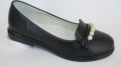 Новые школьные туфли балетки черные с бусинками 31-37р. 19, 1-22, 5см