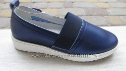 35-39р новые слипоны сліпони мокасины туфли девочке в школу синие том. м то