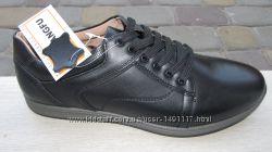 40-44р новые кожаные мужские подростковые туфли - кроссовки черные кожа Kan