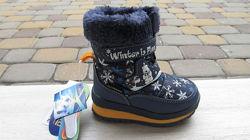 22-26р новые зимние термо ботинки термики сапожки B&G Би джи на овчине маль