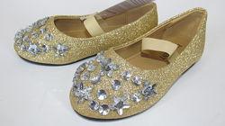26-30р золотистые детские новогодние туфли балетки девочке на утренник