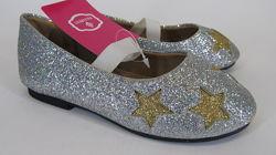 26-30р серебро детские новогодние туфельки балетки девочке на праздник