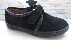 32-36р Детские школьные замшевые туфли туфлі мокасины черные мальчику