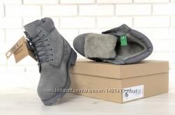Зимние мужские ботинки Timberland Grey. Искусственный мех.