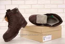 Зимние мужские ботинки Timberland Green Olive. Искусственный мех.