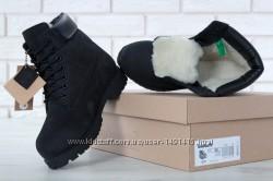 Зимние мужские ботинки Timberland Black. Искусственный мех.