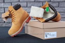 Зимние мужские ботинки Timberland Yellow. Искусственный мех.
