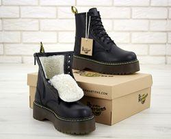Зимние женские ботинки Dr. Martens JADON Black. Искусственный мех.