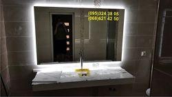 Влагостойкое зеркало с LED подсветкой в ванную комнату.