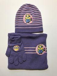 Шапка шарф перчатки детский комплект Despicable me на девочку