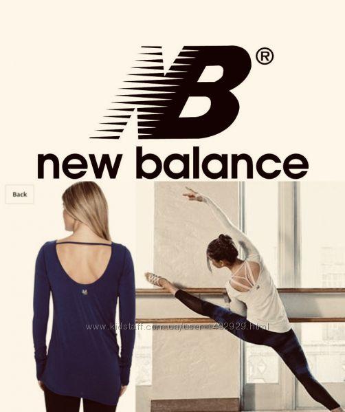 New Balance Лонгслив с открытой спиной, дышащий, город-спорт, размер s
