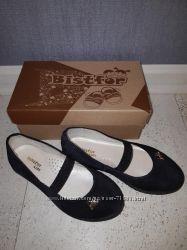 Замшевые, черные туфли для девочки размер 30