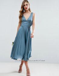 fcc37cab5c7 Вечернее миди платье цвета морской волны