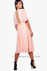 Пудровое, нежно розовое шифоновое платье