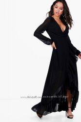 Черное красивое вечернее платье в пол с воланами