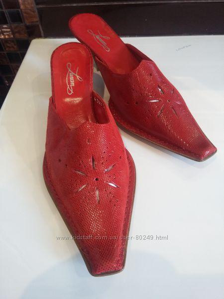 красные сабо босоножки шлепанцы мюли из сафьяновой кожи