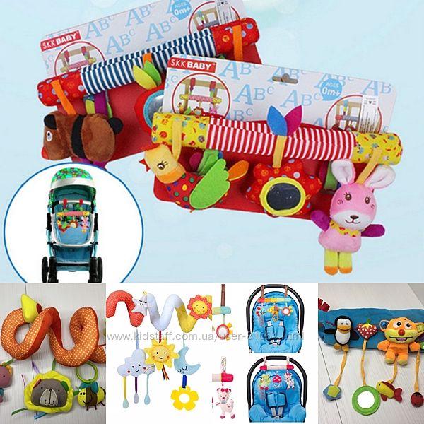 Іграшки підвіски на ліжечко, коляску, автокрісло та візок, багатий вибір