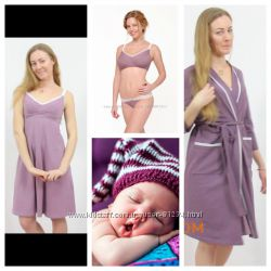 17b15b333045 Комплект халат и ночная рубашка для беременных и кормящих мам в роддом.