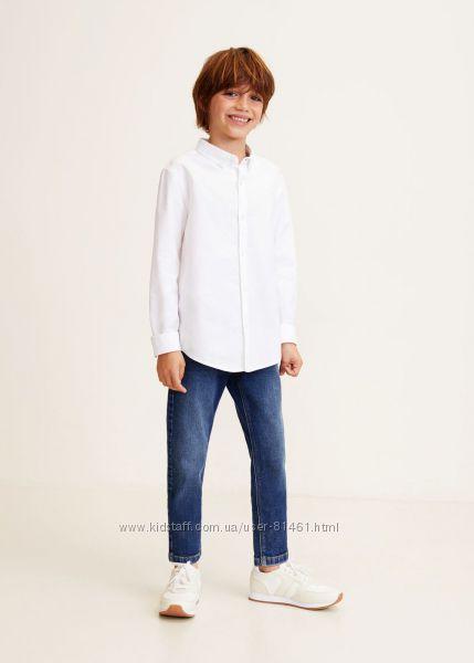 Белая рубашка MANGO kids 9-10 лет рост 140-145 см хлопок