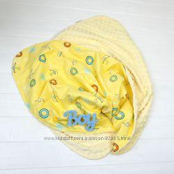 Плюшевые двухсторонние пледы для новорожденных и малышей Польша Plamka