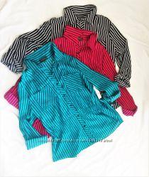 eea5e84dbf3 Блуза рубашка блузон с погончиками на выпуск в полоску 3 цвета XL ...