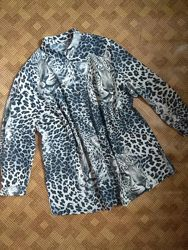 Блуза рубашка леопардовая батал большой размер Monsoon - 64-66рр
