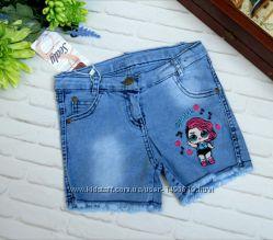 Джинсовые шорты для девочек LOL, Турция р. 5-8
