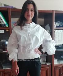 Оригинальная женская котоновая блуза, р. 42-48 белая, черная