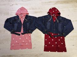 Комплект для девочек с трикотажной туникой и джинсовым пиджаком, 130-150