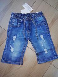 Шорты джинсовые для мальчиков на резинке р.134-140