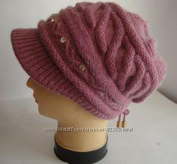 Зимняя ангоровая женская шапка с козырьком р 55-57