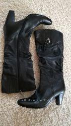 Lolanic кожаные осенние сапоги на каблуке 7см 39р