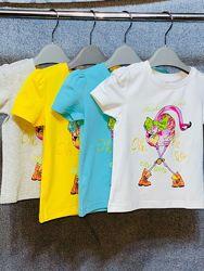 Футболка Делорас фламинго, желтая, белая, серая, бирюзовая, 98-128