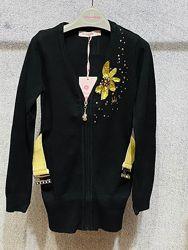 Xiaoniba фирменная удлиненная кофта, серая и чёрная, 120-160