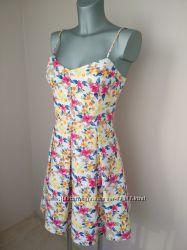 Классное хлопковое летнее платье Oodji в стиле беби-долл, размер 38