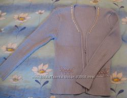 Кофта голубая теплая, р. 42-44, вязка лапша