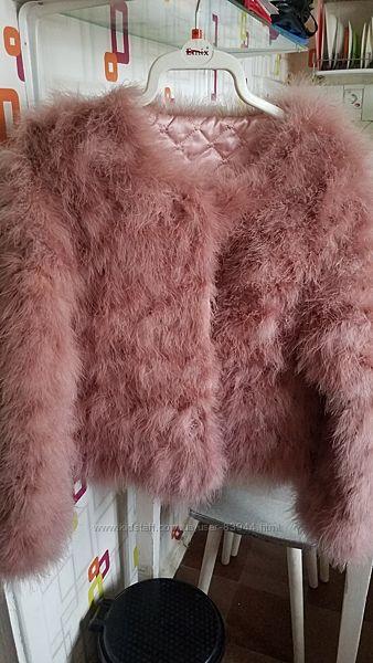 Шуба, полушубок, курточка,  жакет из перьев страуса