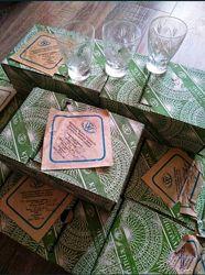 Хрустальные рюмки в коробке. 12 коробок. Стопка. Рюмка. Набор.
