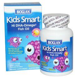 Bioglan, Умные детки, Рыбий жир с высоким содержанием Омега-3, с ягодн