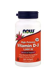 Now Foods, витамин D-3, 1000 МЕ, 360 капс.